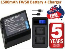 NP-FW50 Battery & Charger X2 Wasabi for SONY Alpha A5000,A5100,A6000,A6300,A6500