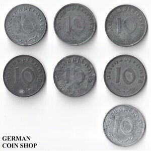 Set 10 Reichspfennig 1943 A B D E F G J Zink - Drittes Reich