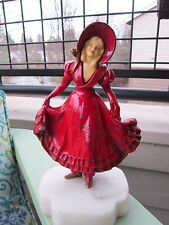 """ANTIQUE HIRSCH FOUNDRY METAL CELLULOID MARBLE """"CURTSY"""" LADY ART STATUE BOOKEND"""