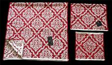 3 Nanette Lepore Red Ivory Raised Floral Scroll Bath Hand Wash Cloth Towels NWT