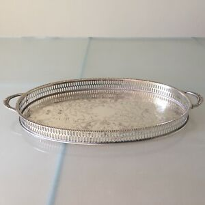Viners Vintage Small Oval Sheffield Silver Plate Gallery Serving Tray Handles