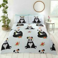Panda with Floral & Spots Duvet Quilt Cover Bedding Set with Pillowcases