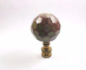 Lamp Finial Large  Green/Brown  Ceramic  Ball  (J5)