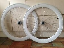 WHITE DEEP RIM FIXIE WHEELS WHEELSET FIXED GEAR