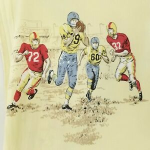 Vintage Football Game Bed Sheet Set Full Size 4Pc Fitted Flat Pillowcases Sports