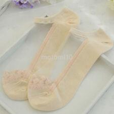 2PC/Pack Women Ultrathin Transparent Crystal Silk Lace Elastic Short Ankle Socks
