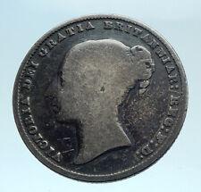 1860 UK Great Britain United Kingdom QUEEN VICTORIA Shilling Silver Coin i78302