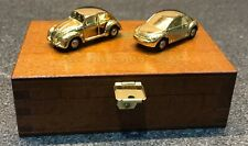 Schuco Piccolo Xmas Special 2002 VW Beetles Old & New - Gold in Wooden Case 1:90