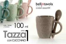 SET 6 TAZZINE TAZZE CAFFE' CON CUCCHIAIO 100 ML VARI COLORI CEZ-725128