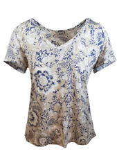 LADIES GORGEOUS MARKS & SPENCER V NECK T SHIRT M&S FLORAL OATMEAL MIX TOP