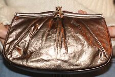 Judith Leiber Bronze Metallic/Gold Teddy Bear Clasp Leather Convertible Clutch