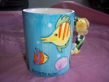12 Oz Blue Coffee Mug Puerto Rico 3-D Colorful Fish Handle  Perfect Condition