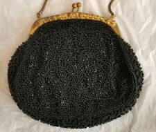 HANDMADE WALBORG Vintage Black Beaded Evening Bag Purse Made in W. Germany
