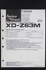 PIONEER xd -z63m ORIGINALE CD/NASTRO/Amplificatore MANUALE DI SERVIZIO /