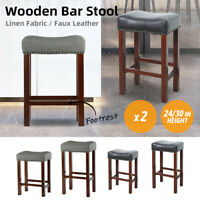 """24/30"""" PU Leather Fabric Dining Pub Bar Padded Seat Chair Stools Footrest 2 PCS"""