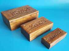 3 Wooden Hand Carved Handmade Rosewood Jewelry Boxes with Embedded Metal Design
