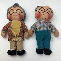 "Vintage Made in Hong Kong 14"" Plush Toy Stuffed Dolls Grandma & Grandpa"