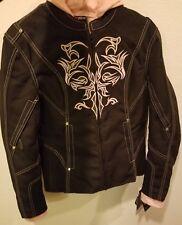Women Motorcycle Nylon Jacket w/ Embroidery & Reflective Tribal Design Small