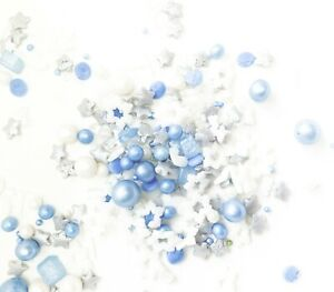 Frozen Sprinkles Blue Silver Edible Frosty Snowflakes Sugar Cupcake Cake Toppers