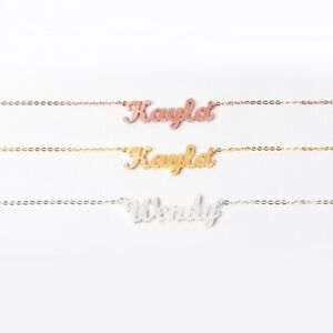 Personalized 925 Sterling Silver Gold Plated Name Necklace Customized
