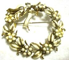 Vintage 2� Signed Coro White Bead Flowers/White Enameled Holly Wreath Brooch Pin