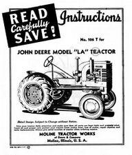 John Deere La Tractor Operators Instruction Manual Jd