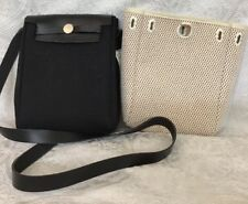 Hermes Herbag Canvas And Leather Messenger  Small Size