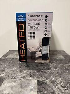 "Biddeford MicroPlush Electric Heated Plaid Throw Blanket 62"" x 50"" Black & White"