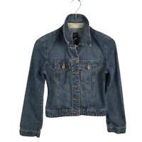 GAP Womens Denim Jean Jacket Size XS Blue Long Sleeve Button Down Cotton Pockets