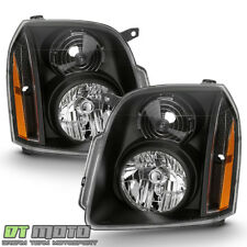 Black 2007-2014 GMC Yukon Denali XL Denali Headlights Headlamp Left+Right 07-14