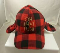 Christmas baseball Hat Cap Black red plaid oh what fun with ear warmers built in