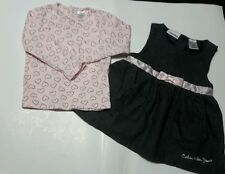 Calvin Klein Gray Pink Outfit Baby Girl Dress Infant Set 2pc Sz 18 Months EUC