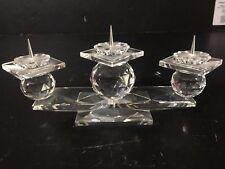 "Swarovski Crystal Retired Three Candle Candleholder 7600 Nr 107 8"" signed"