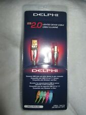 DELPHI 10' USB 2.0 LIGHTED DEVICE CABLE RED LED LIGHT TYPE AB A-B A/B CABLE