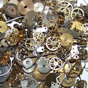 10g Lot Vintage Steampunk Watch Parts Pieces Gears Hands Rubies Cogs Wheels DIY