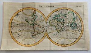 WORLDMAP CALIFORNIA AS AN ISLAND 1711 UNUSUAL ANTIQUEMAP by DAMPIER 18TH CENTURY