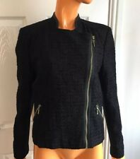 River Island Black Cropped Zipped Faux Leather Contrast Jacket UK12 RRP60 NWT