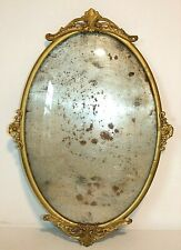 Antique Nouveau Convex Bubble Glass Oval Picture Frame, Metal Brass Back 14 x 20