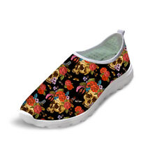 Skull Womens Running Shoes Floral Breathable Flat Sneakers Slip On Trainers Girl