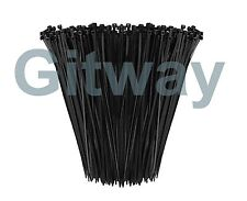"1000 14"" Long UV Nylon Plastic Black Wire Cable Loop Zip Tie Ty Ties Wraps 50lb"