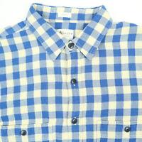 J CREW Heritage Lined Work Shirt Mens MEDIUM Ivory & Blue Plaid Tailored Fit