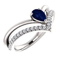 0.65Ct Blue Sapphire and Diamond Wishbone Ring in 9K White Gold Finish