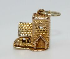 950s VINTAGE 9ct GOLD OPENING CHURCH WEDDING CHARM FOR BRACELET OR PENDANT