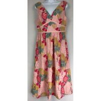 NSR Womens A Line Dress Pink Floral Empire Waist Midi V Neck Sleeveless Lace M