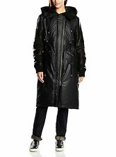 DIESEL BLACK GOLD LEATHER SLEEVED AND HOOD WOMENS WINTER COAT SIZE 42