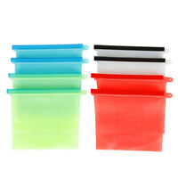 NEW Tasteless 8X Reusable Silicone Food Storage Bags Kitchen Leakproof Snack Bag