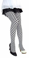 White Black Polka Dot Pantyhose Tights Stockings Adult Womens Clown Accessory