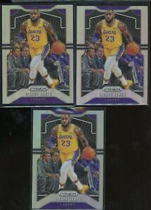 Lot of (3) 2019-20 Panini Silver Prizm #129 LeBron James Los Angeles Lakers
