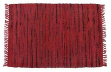 "Red Sturbridge Hand Woven Rag Throw Rug, 30"" x 50"", w/Black Accents, Cotton"
