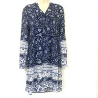 Altar'd State Tunic Top S Floral Blue White Long Sleeve Boho Hippie Rayon Small